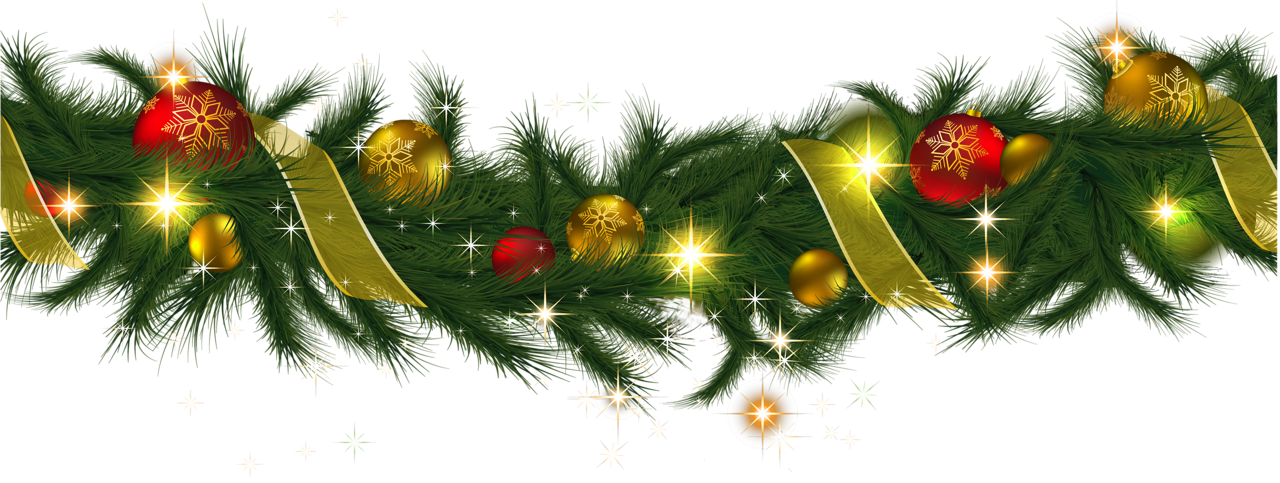 Transparent Christmas Pine Garland with Lights Clipart